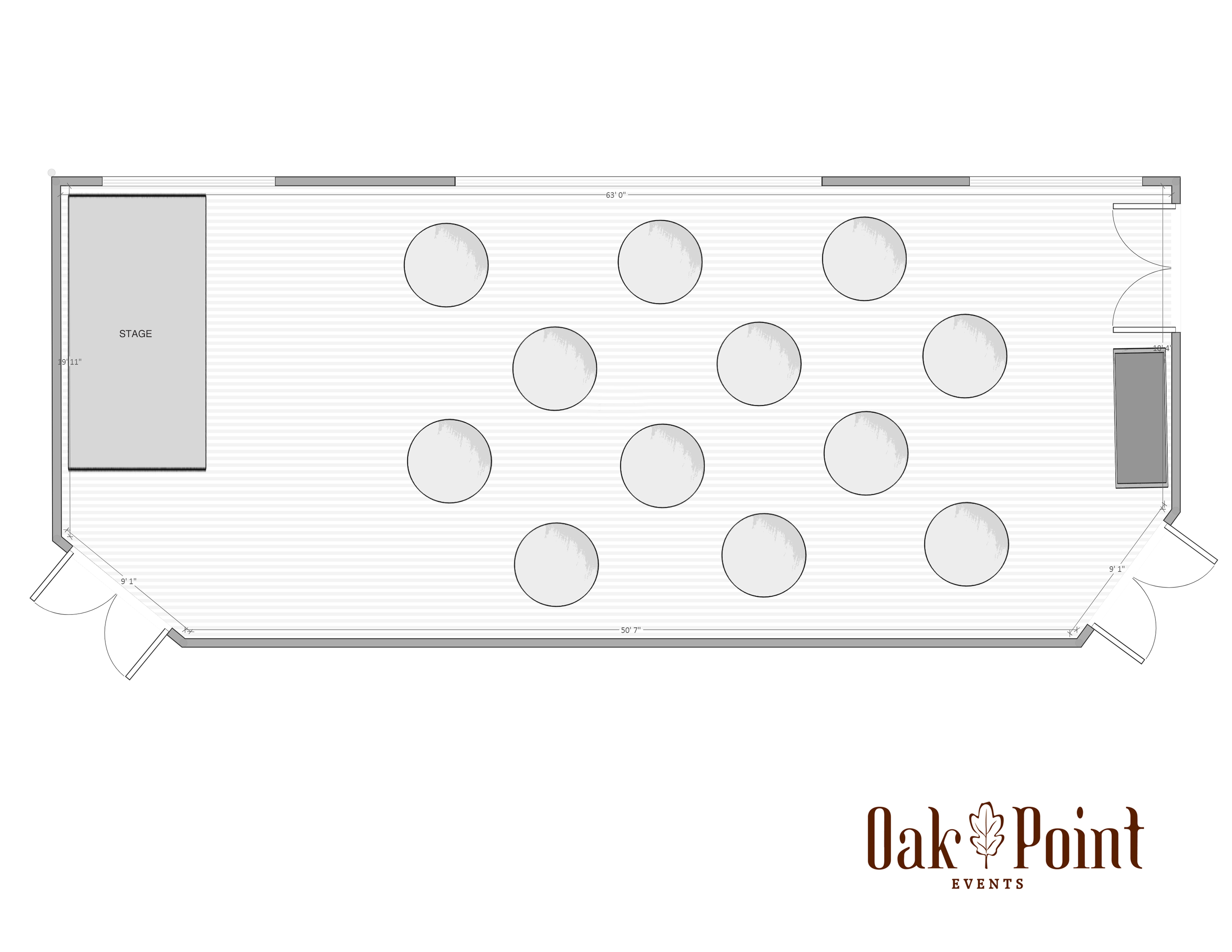 Oak Point Events Floorplan with Sample Layout